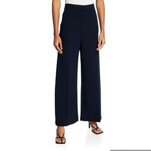 Oak and Fort Wide Leg High Rise Trouser Pant Navy